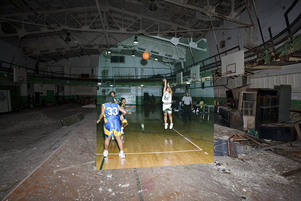 A 1988 basketball game superimposed over the present-day condition of the old gymnasium.